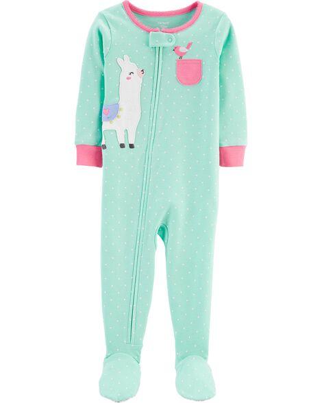 Pyjama 1 pièce à pieds en coton ajusté à lama