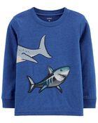 T-shirt en jersey flammé à imprimé de requin, , hi-res