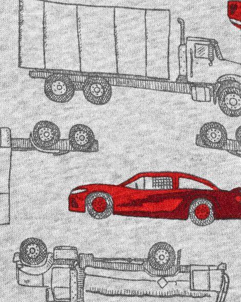 Kangourou à glissière doublé de molleton imprimé véhicule