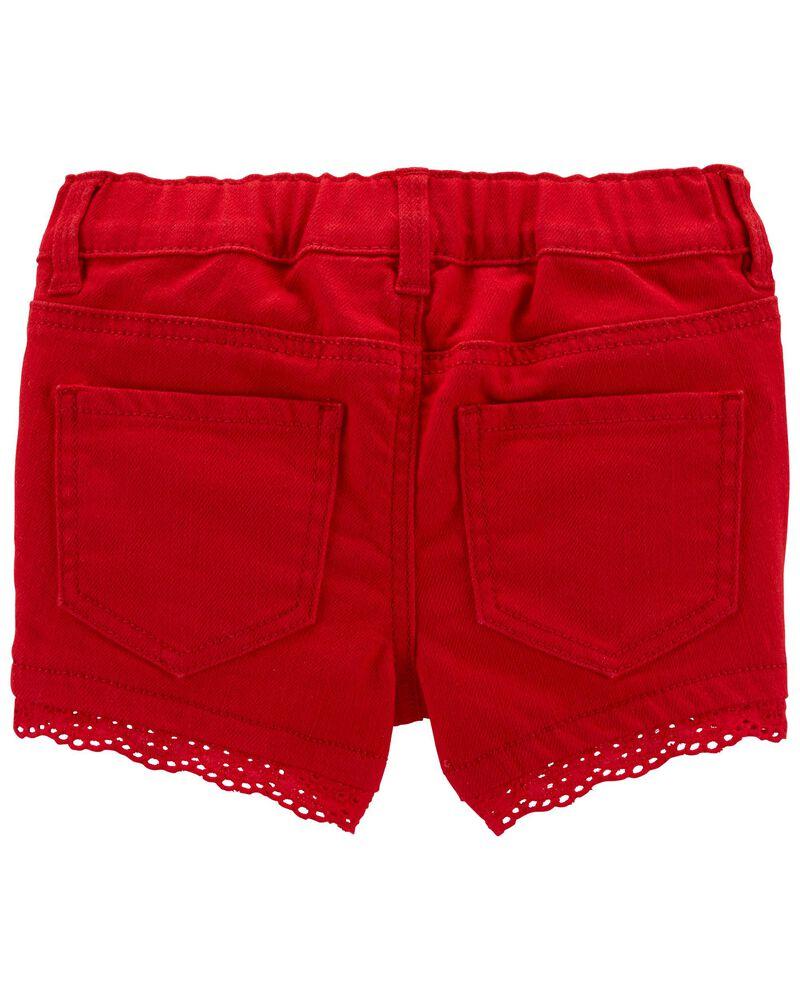Eyelet Trim Stretch Shorts, , hi-res