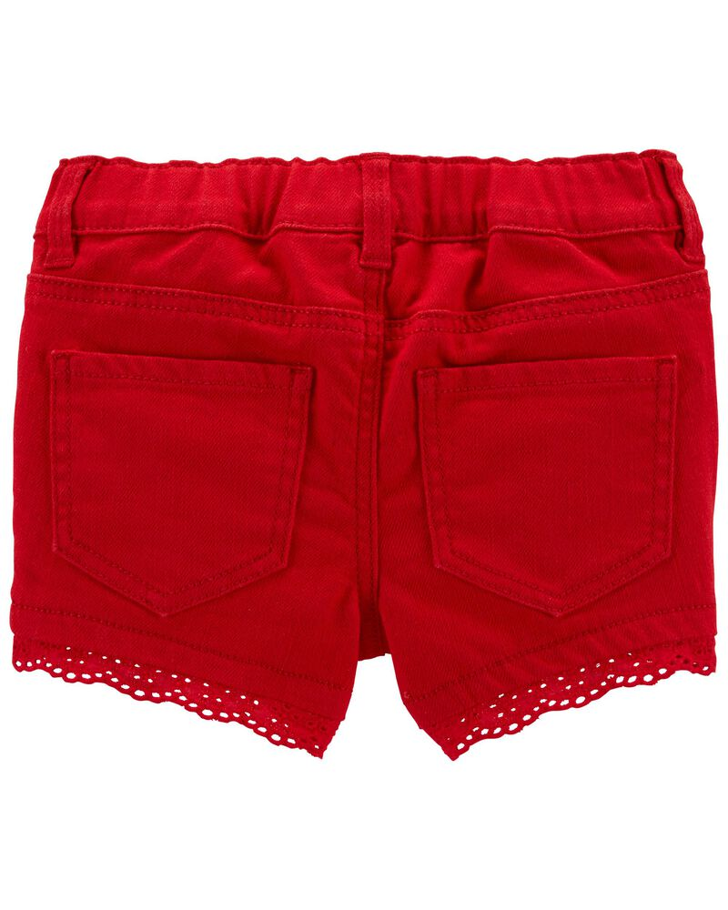 Eyelet Trim Stretch Shorts, , hi-res