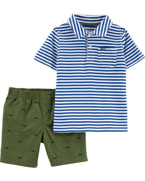 2-Piece Striped Polo & Poplin Short Set