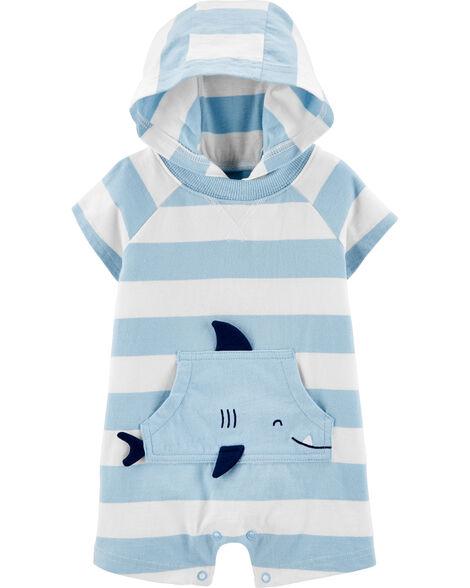 Barboteuse rayée en jersey avec requin
