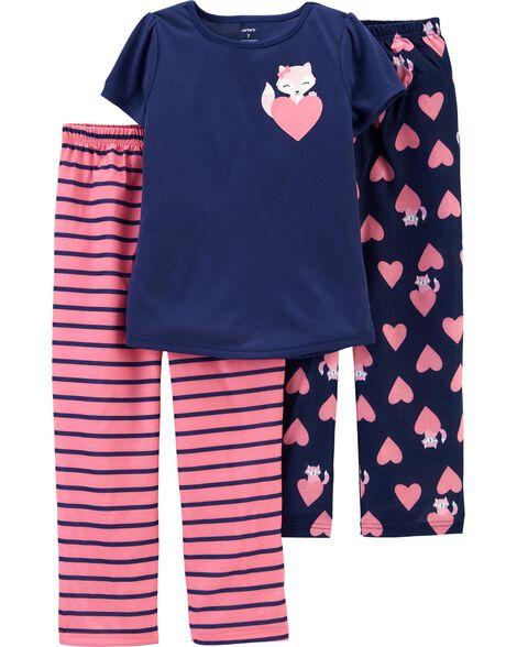 Pyjama 3 pièces en polyester motif de renard