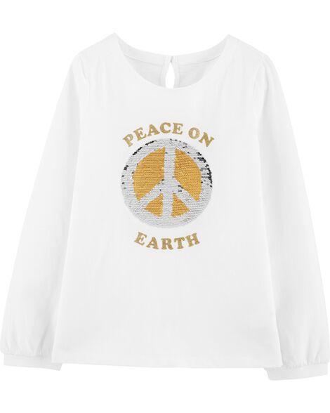 T-shirt dévoilant le message Peace on Earth