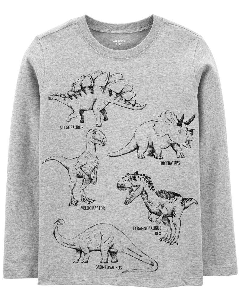 T-shirt en jersey à squelette de dinosaure, , hi-res