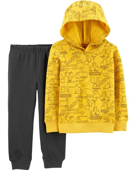 2-Piece Construction Pullover Hoodie & Jogger Set