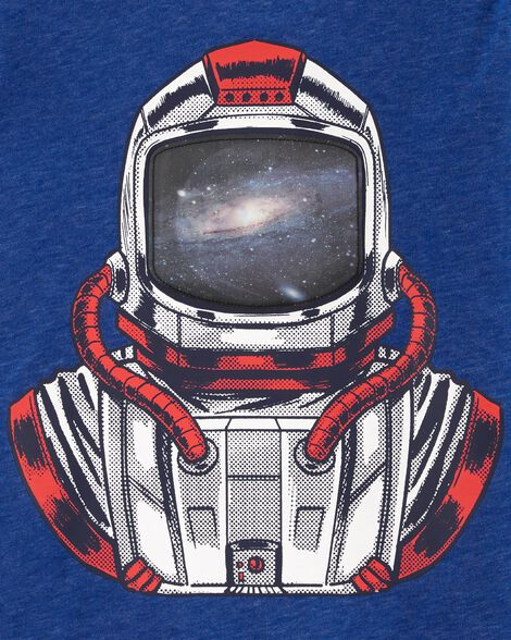 Astronaut Action Graphic Snow Yarn Tee