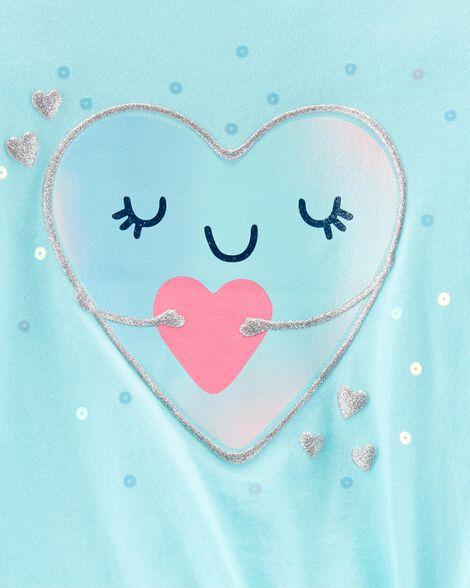 Glitter Heart Tie-Front Jersey Tee