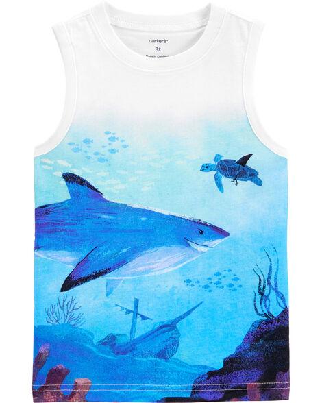 Débardeur en jersey à imprimé requin