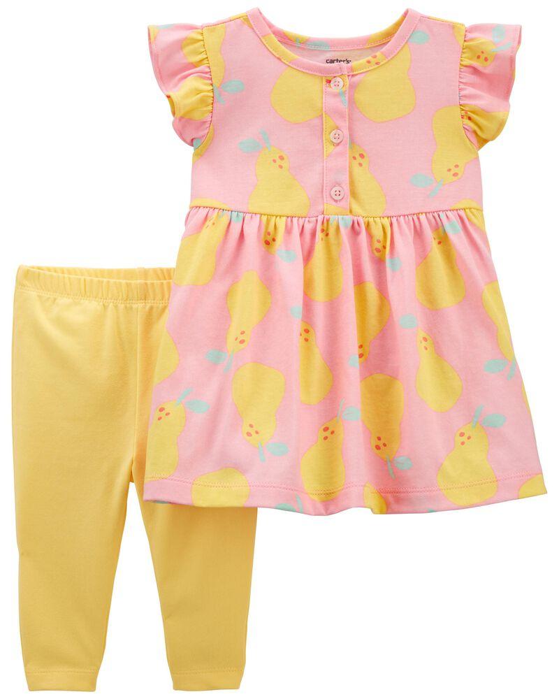 Ensemble 2 pièces robe à citrons et legging, , hi-res