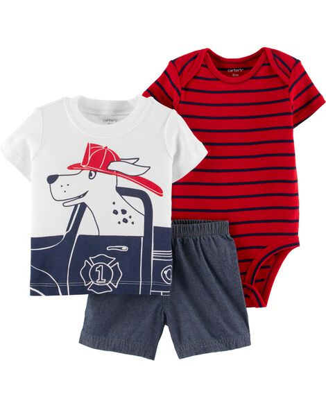 3-Piece Dog Little Short Set