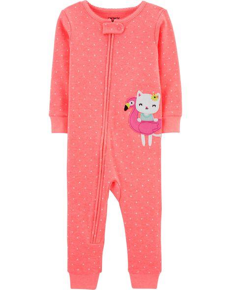 Pyjama 1 pièce sans pieds en coton ajusté à motif flamant et chat