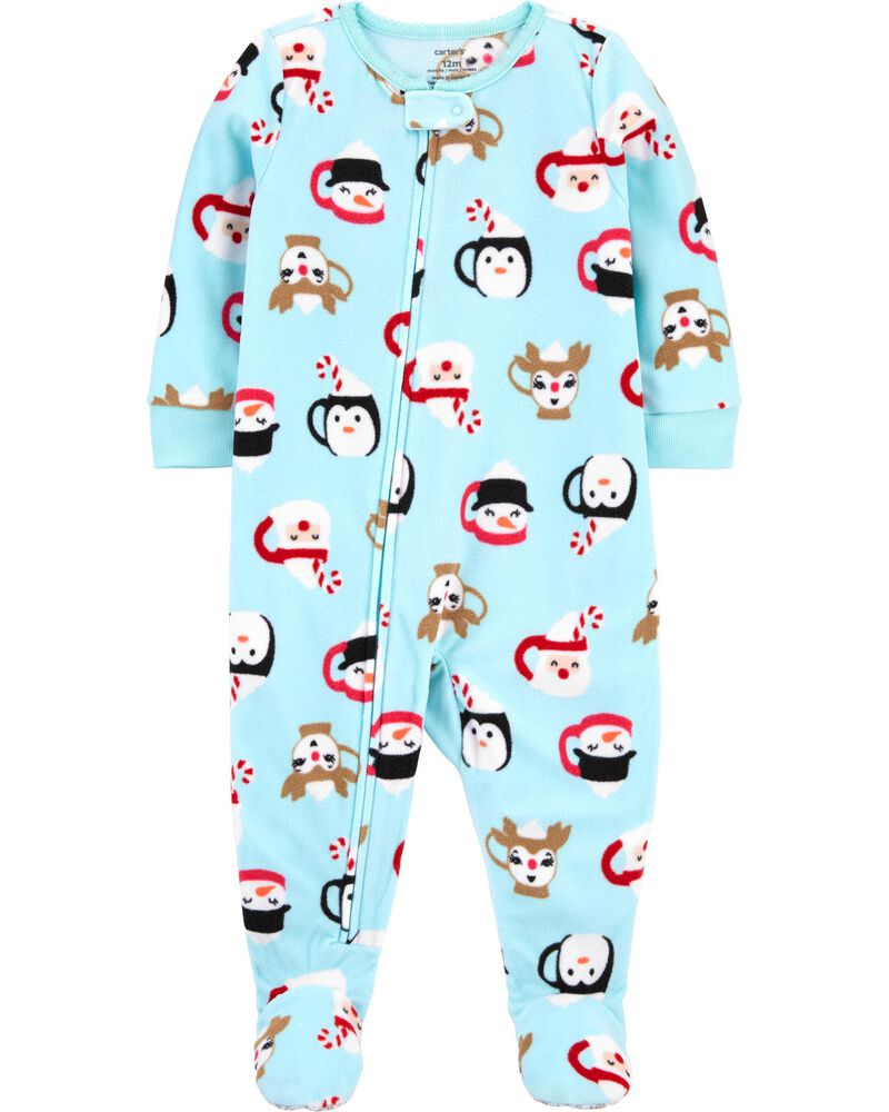 1-Piece Santa Fleece PJs, , hi-res