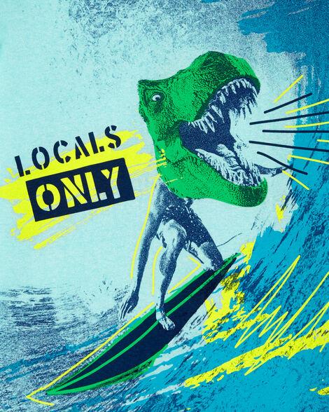 T-shirt à imprimé de dinosaure sur une planche de surf