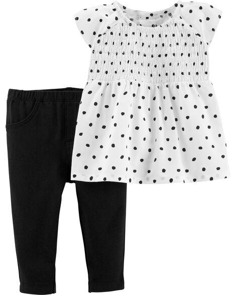 2-Piece Polka Dot Top & Legging Set