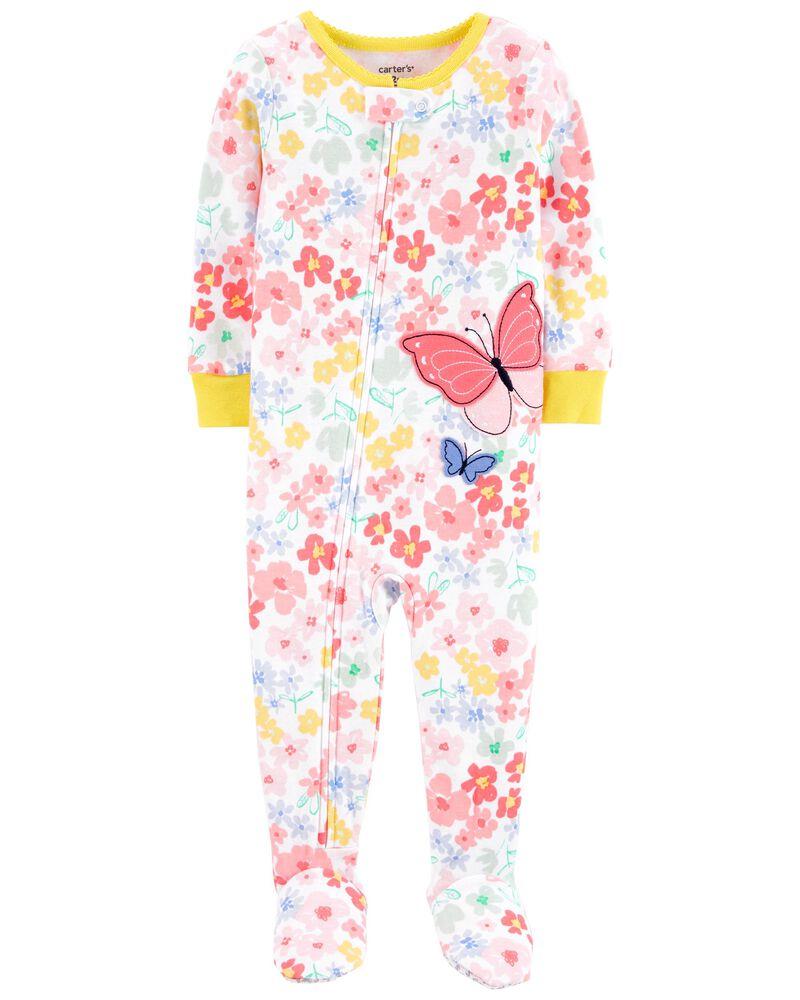 1-Piece Butterfly 100% Snug Fit Cotton Footie PJs, , hi-res