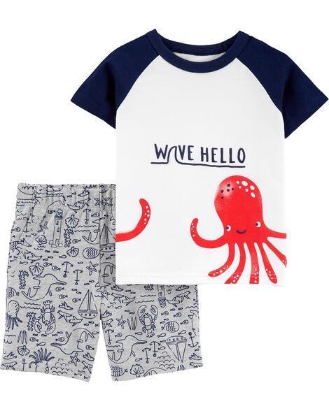 2-Piece Octopus Raglan Jersey Tee & French Terry Short Set