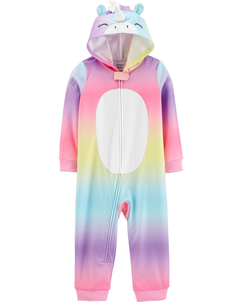 1-Piece Unicorn Hooded Fleece Footless PJs, , hi-res