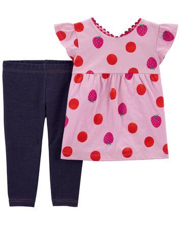 2-Piece Strawberry Top & Knit Denim...