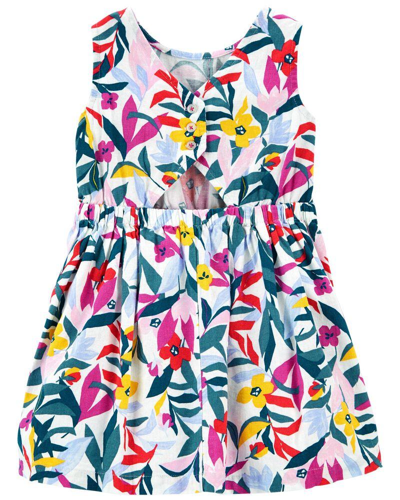 Floral Linen Dress, , hi-res