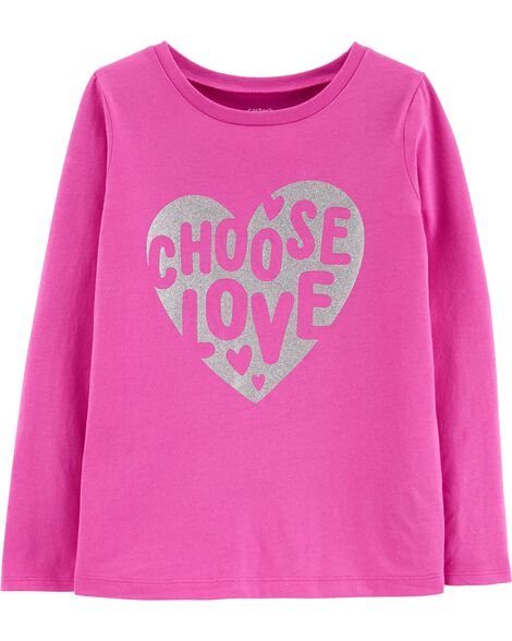 Glitter Choose Love Heart Jersey Tee