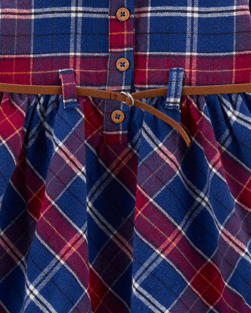 Robe à motif écossais en flanelle, , hi-res