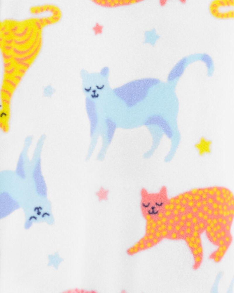 1-Piece Cat Fleece Footless PJs, , hi-res