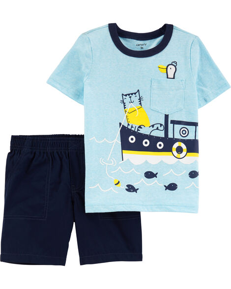 2-Piece Boat Snow Yarn Tee & Poplin Shorts
