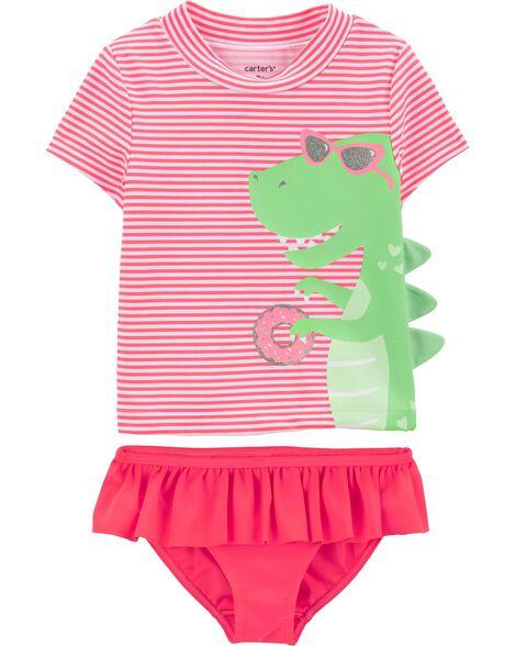 2-Piece Dinosaur UV Swim Shirt Set