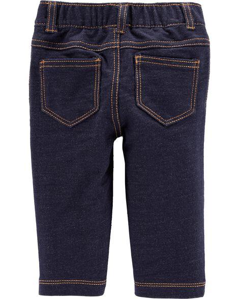 Pantalon en jersey bouclette d'allure denim