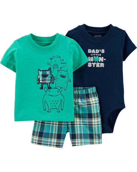 3-Piece Monster Little Short Set