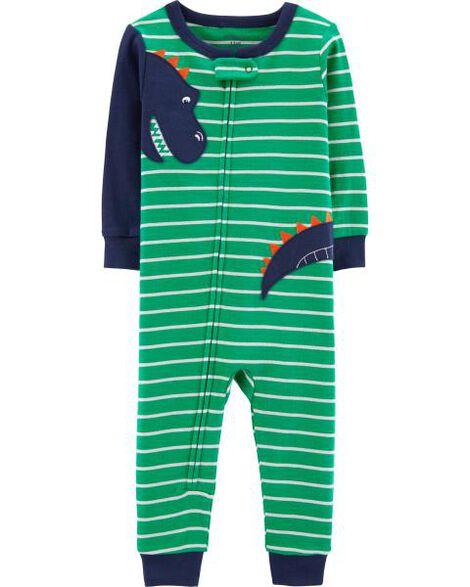 Pyjama 1 pièce sans pieds en coton ajusté à dinosaure
