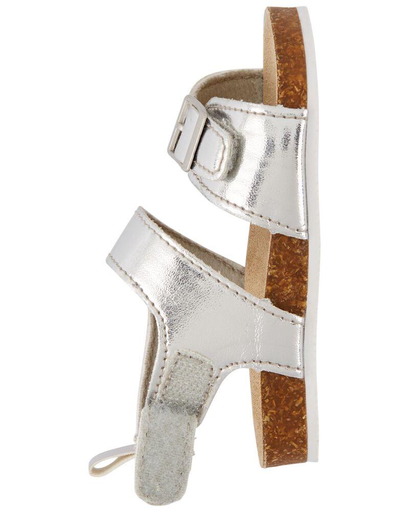Metallic Cork Sandal Baby Shoes, , hi-res