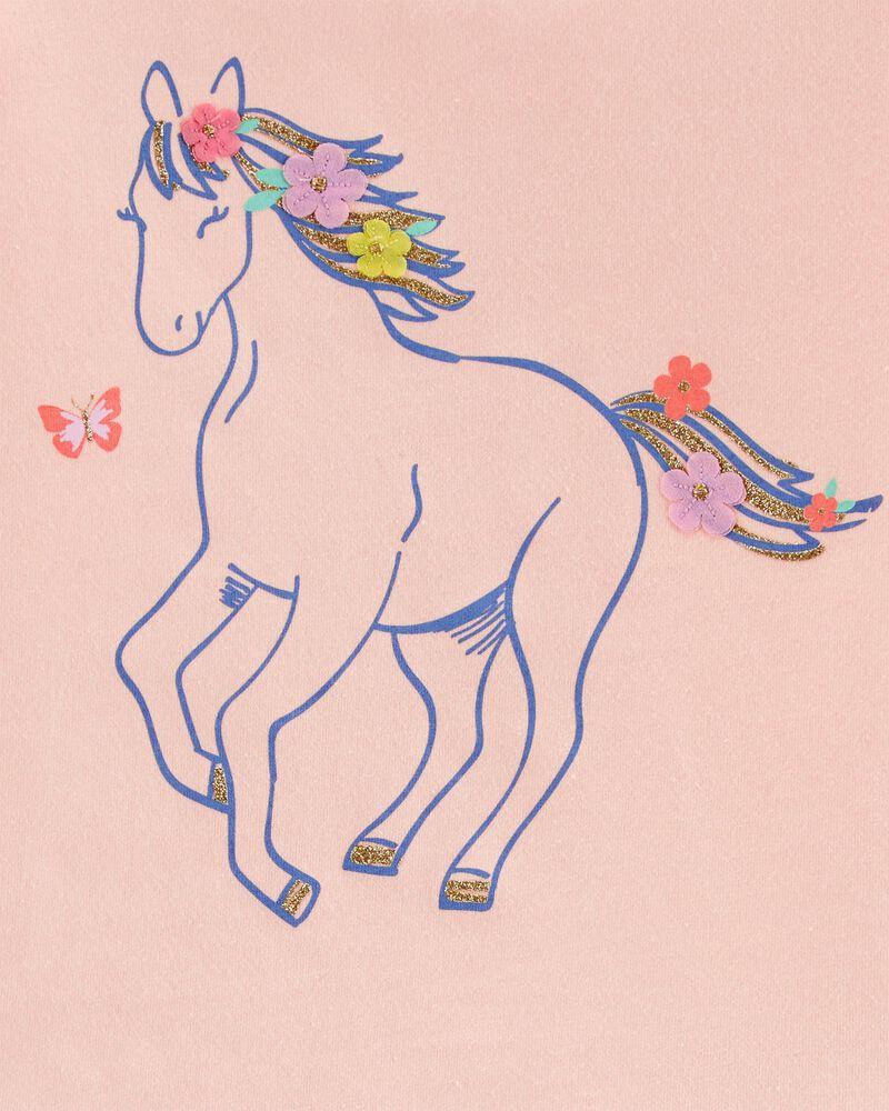 T-shirt en jersey et cheval scintillants, , hi-res