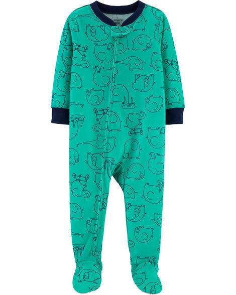 Pyjama 1 pièce en polyester à pieds motif éléphant