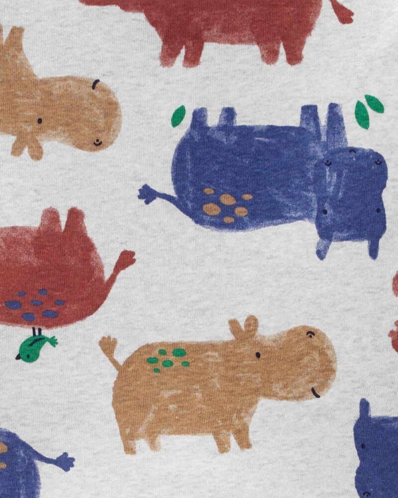 4-Piece Hippo 100% Snug Fit Cotton PJs, , hi-res