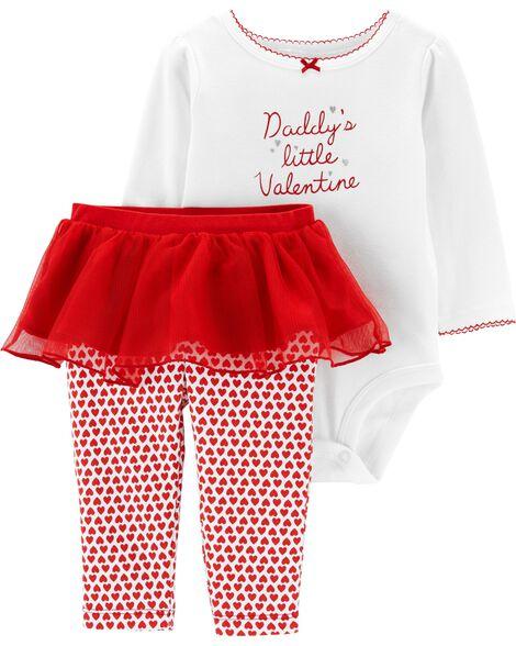 Ensemble 2 pièces cache-couche et pantalon avec tutu Saint-Valentin