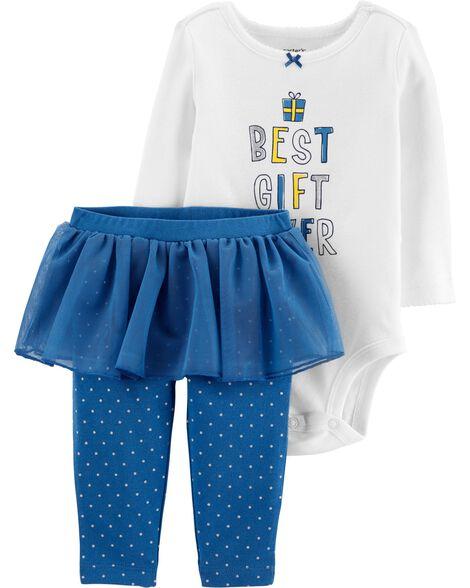 2-Piece Best Gift Ever Bodysuit & Tutu Pant Set