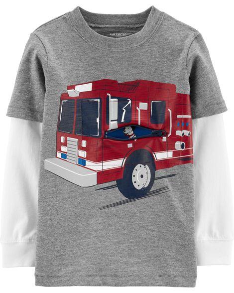 Firetruck Layered-Look Slub Tee