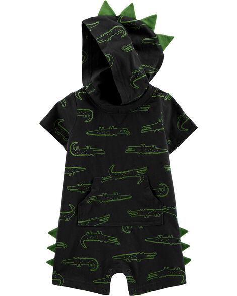 Barboteuse en jersey à capuchon et alligator