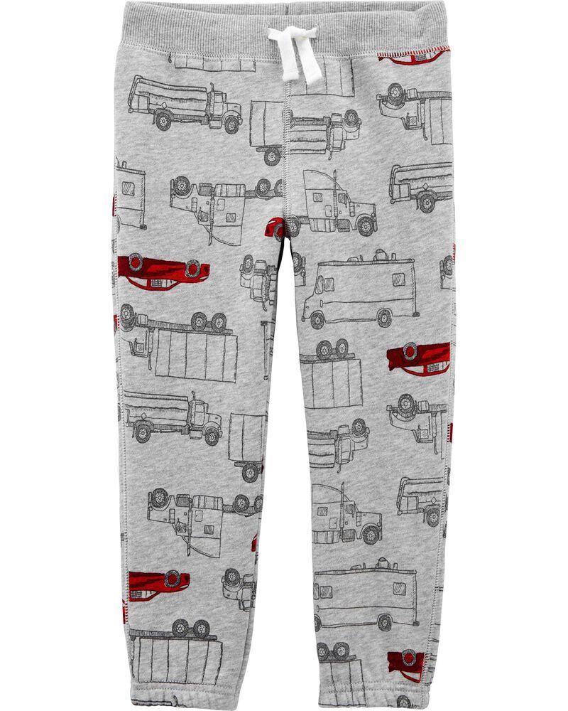Pantalon à enfiler en molleton motif voiture, , hi-res