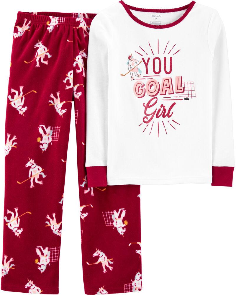 2-Piece Unicorn Goals Cotton & Fleece PJs, , hi-res