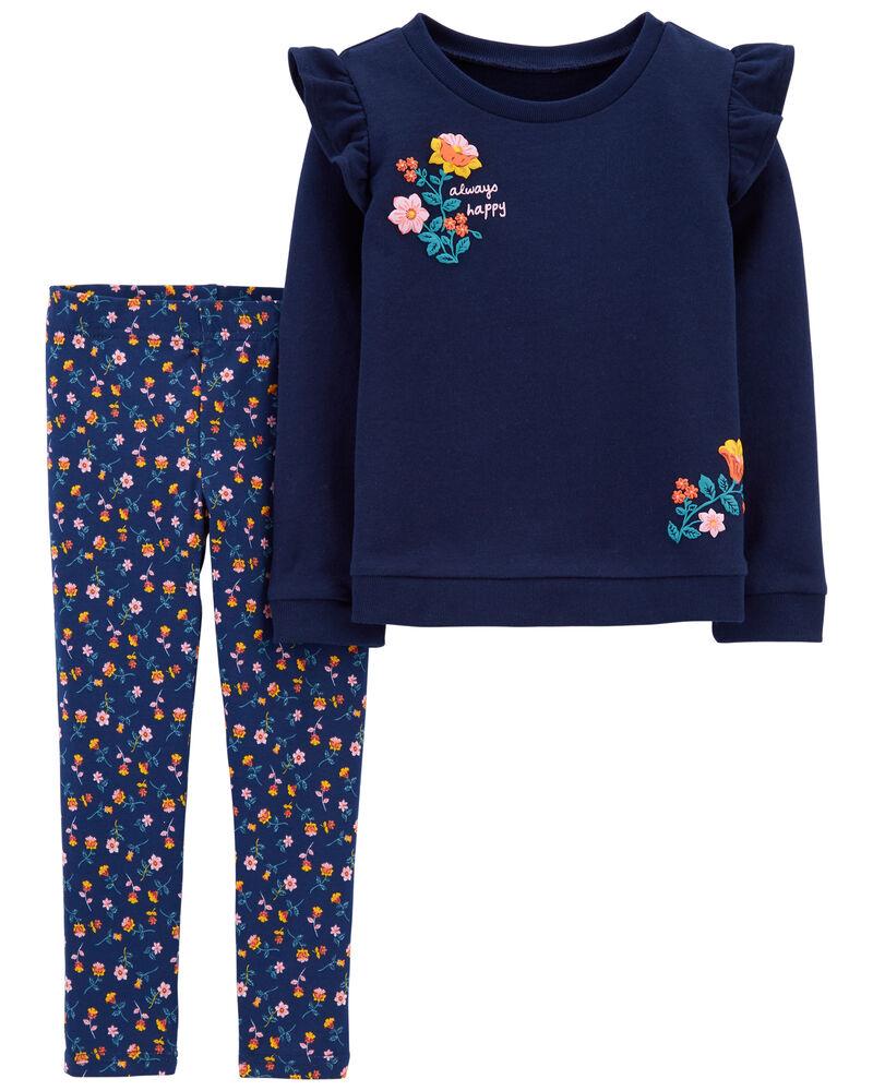 2-Piece Flutter French Terry Top & Floral Legging Set, , hi-res