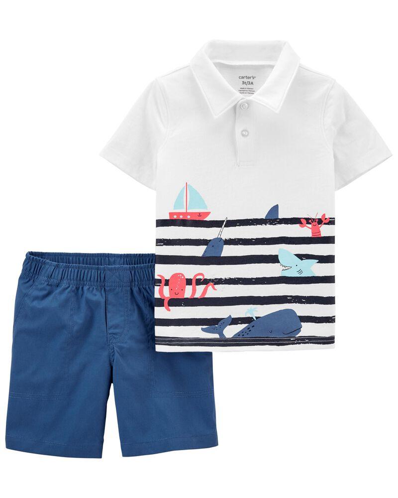 2-Piece Jersey Polo & Poplin Short Set, , hi-res