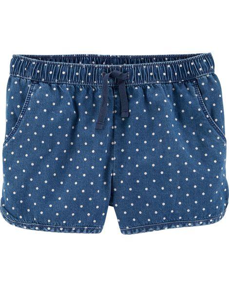 Polka Dot Pull-On Denim Shorts