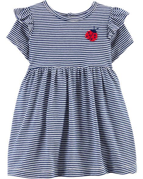 Striped Ladybug Jersey Dress