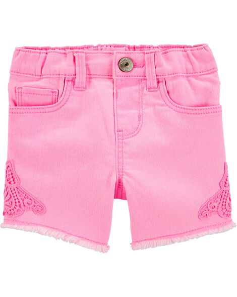 Short en denim extensible rose