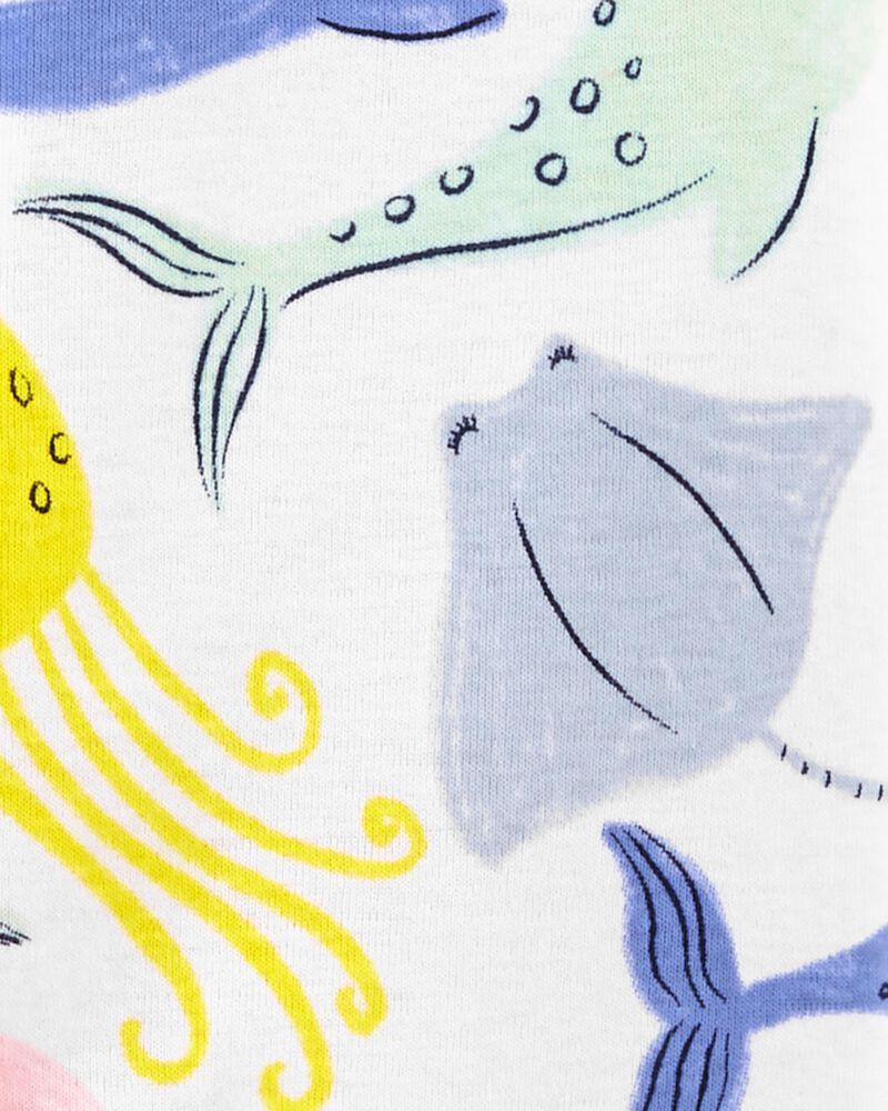 Pyjama 1 pièce à pieds en coton ajusté à motif de baleine, , hi-res