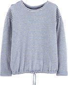 Striped Tie-Hem Sweatshirt, , hi-res